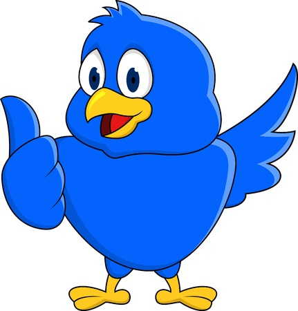 animal finger: Funny blue bird showing thumb up