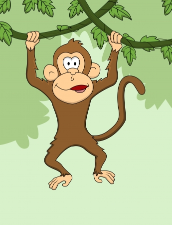 species of creeper: Monkey cartoon hanging