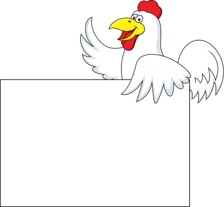 Rooster carton with blank sign  Vector