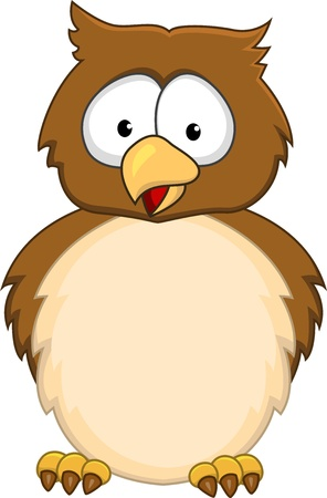brown eyes: Funny owl cartoon  Illustration