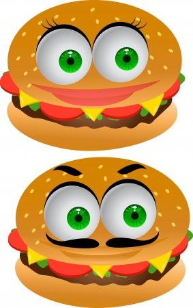 Burger cartoon character  Vector