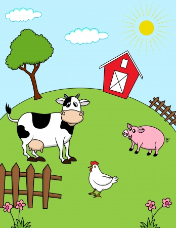 barnyard: Farm animals  Illustration