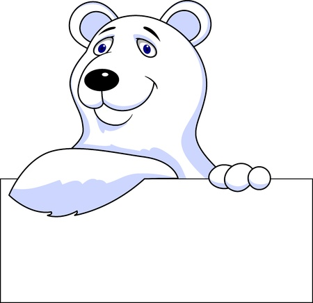 teddy bear christmas: polar bear cartoon with blank sign Illustration