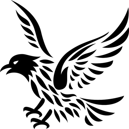 cross and wings: Eagle tattoo  Illustration