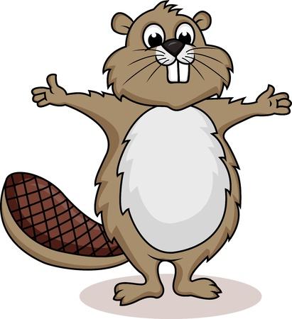castor: Beaver de dibujos animados que muestra