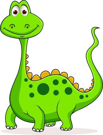 clumsy: Carino dinosauro verde cartone animato Vettoriali