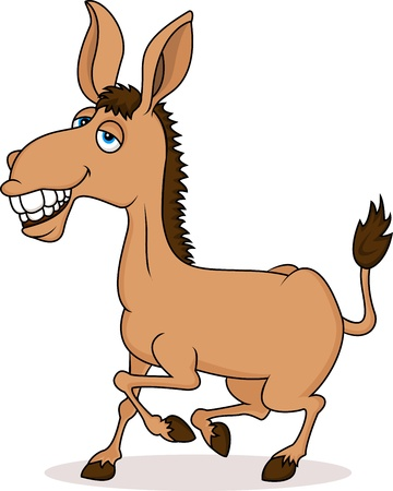 ears donkey: Smiling donkey cartoon