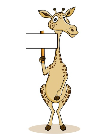 zoo youth: Giraffe cartoon with blank sign