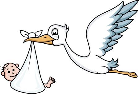 Storch mit Baby Standard-Bild - 13779395