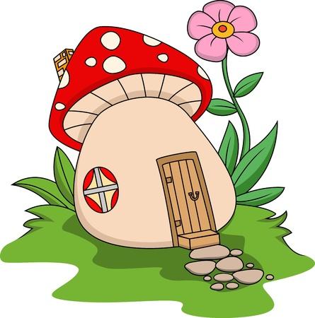 cartoon mushroom: Fantasy mushroom house