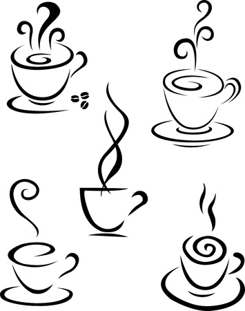 steaming: Coffee symbol collection