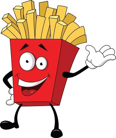 papas fritas: Ilustración de dibujos animados de patatas fritas