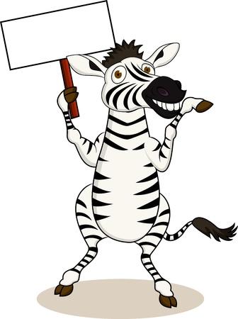 illustration zoo: Zebra cartone animato con segno bianco