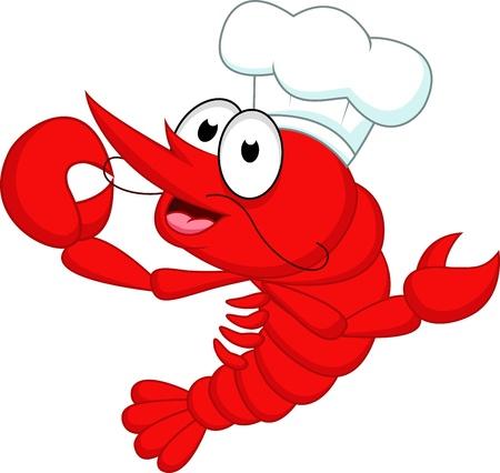 Camarones Chef Ilustración de vector