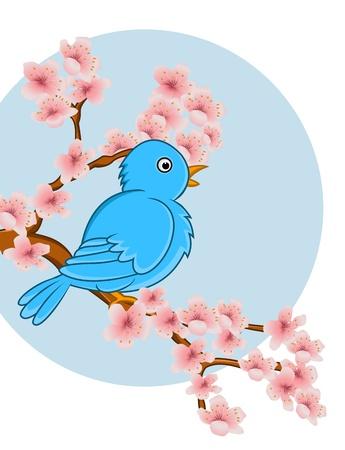 winter cherry: bird cartoon Illustration