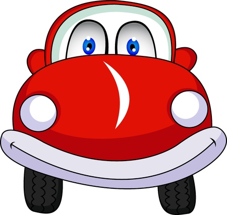 funny red car cartoon Vector