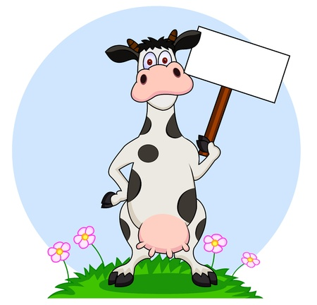 cows grazing: cow withy blank sign Illustration