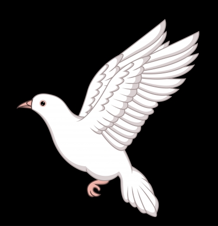 dove of peace: white dove flying Illustration