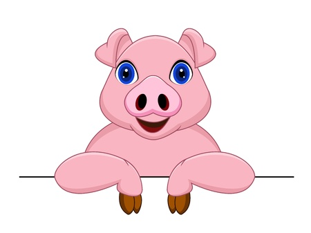Pig cartoon and blank sign Vector