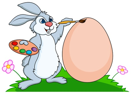 rabbit painting eggs Vector