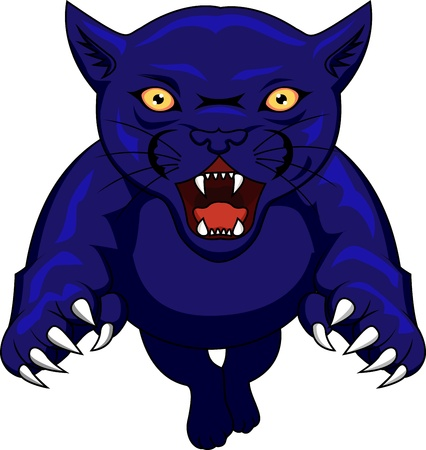pounce: panther attacking Illustration
