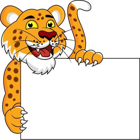 chita: Cheetah de la historieta con cartel en blanco Vectores