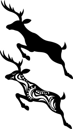 stag horn: Deer jumping silhouette