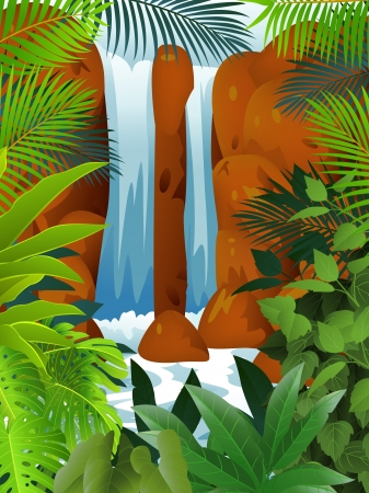 Tropical forest with Waterfall Stock Vector - 13781447
