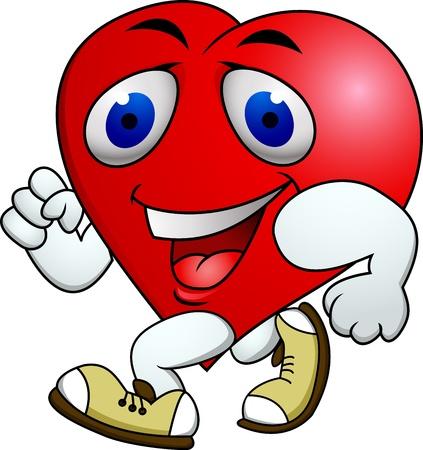 jogging track: Heart carton exercise  Illustration