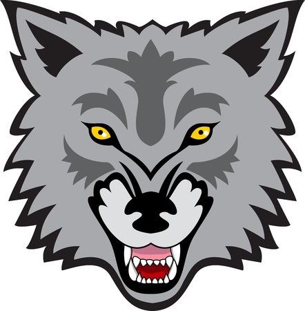 gray wolf black and white: Wolf face