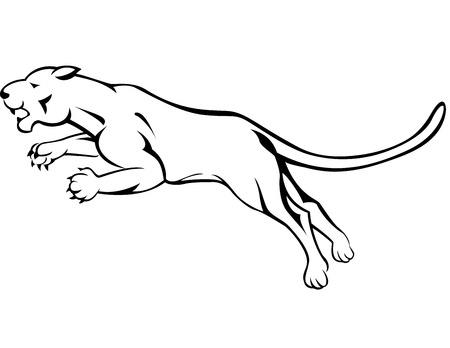 puma: Angry panther jumping  Illustration