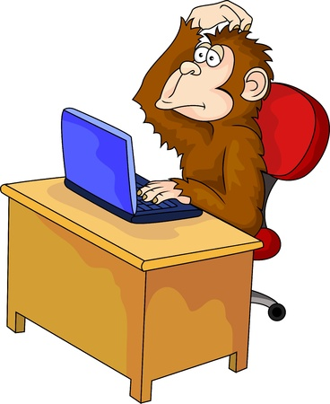 looking at computer screen: Monkey cartoon with computer