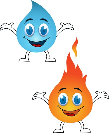 four objects: Water and fire cartoon Illustration