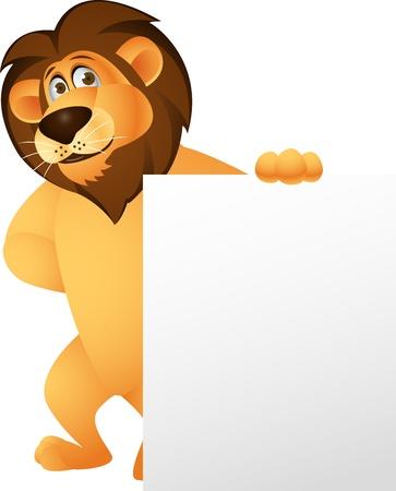 of lions: Le�n de dibujos animados divertido con la muestra en blanco