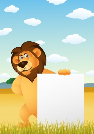 Funny lion cartoon with blank sign  Vector