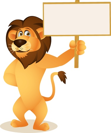 announcements: Funny lion cartoon with blank sign