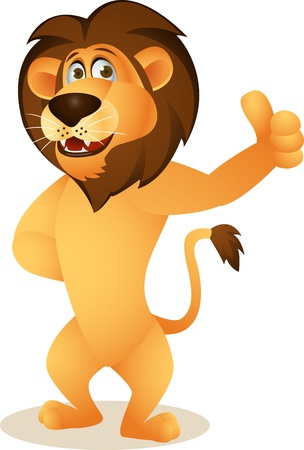 isolation: Funny lion cartoon Illustration