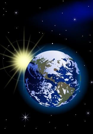 atmosfera: El planeta Tierra, con la salida del sol en el espacio
