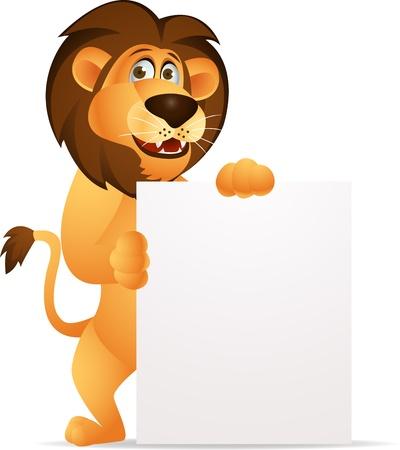 Lion cartoon with blank sign Stock Vector - 13784047