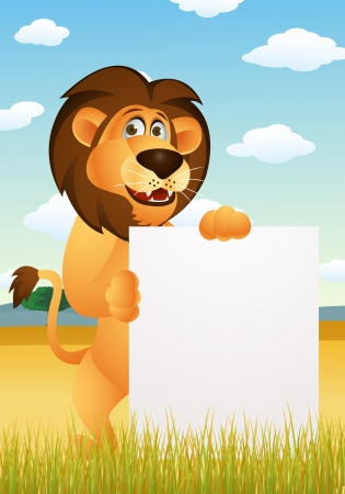 Lion cartoon with blank sign Stock Vector - 13784050
