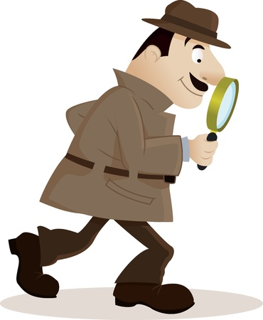 Detective with magnifying glass Illustration