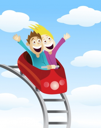 Man and women an a roller coaster  Vector