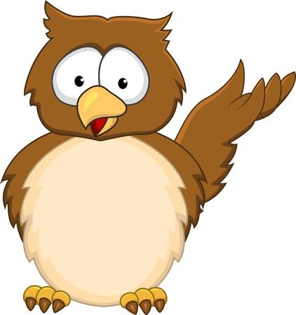 Funny owl cartoon  Ilustracja