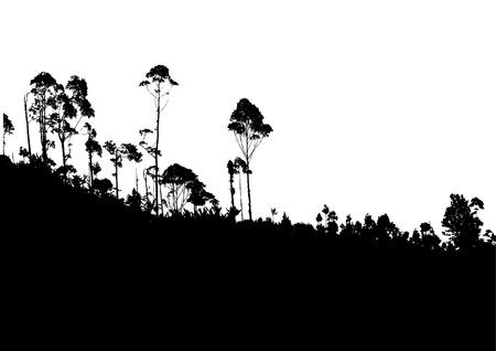prato e cielo: Albero tropicale con sfondo di montagna Vettoriali