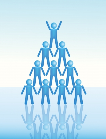 A group of people team up in a pyramid  Vector