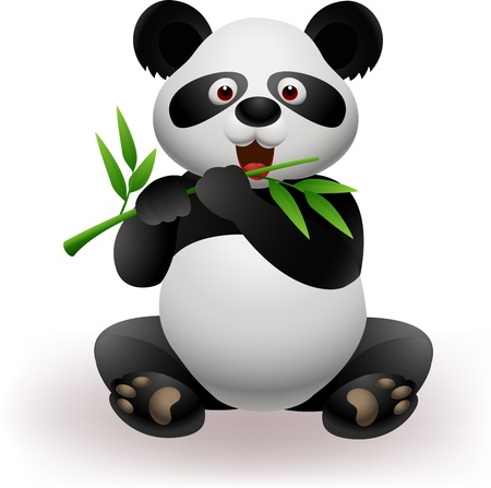 Vector illustration of Funny panda eating panda  Vector