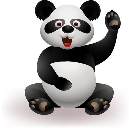 cartoon panda: Funny panda waving hand Illustration