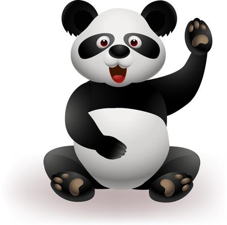 oso negro: Panda divertido agitando la mano