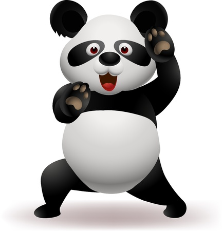 oso panda: Ilustración del vector del oso panda divertido practicando artes marciales