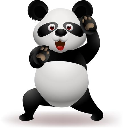 Vector illustration of Funny panda practicing martial art  Ilustracja